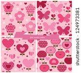 set seamless pattern flower ... | Shutterstock .eps vector #124973381