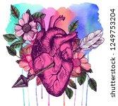 blooming broken human heart.... | Shutterstock . vector #1249753204