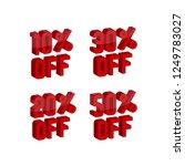 discount numbers 3d vector. 10... | Shutterstock .eps vector #1249783027