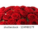 Stock photo close up of a beautiful bouquet of red roses 124980179