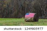 American Flag On Bale Of Hay...