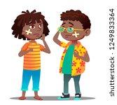 sad black afro american child... | Shutterstock .eps vector #1249833364
