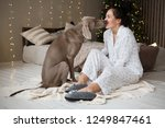 happy young woman in a pajamas... | Shutterstock . vector #1249847461