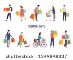 set of isolated people while... | Shutterstock .eps vector #1249848337