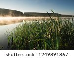 foggy morning. grass and lake... | Shutterstock . vector #1249891867