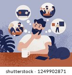 thoughtful bearded man sitting... | Shutterstock .eps vector #1249902871