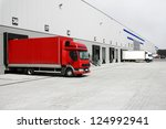 red truck in the warehouse | Shutterstock . vector #124992941