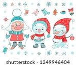 cute set of pig  snowmen  birds ... | Shutterstock .eps vector #1249946404