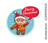 merry christmas flat icon with... | Shutterstock .eps vector #1249950424