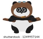 cute panda in aviator hat with... | Shutterstock .eps vector #1249957144