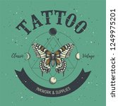 tattoo parlor poster. classic... | Shutterstock .eps vector #1249975201