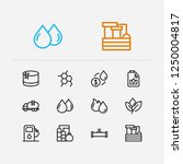 petrol icons set. plant and...