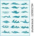 set vektor waves from element... | Shutterstock .eps vector #125001734