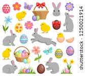 easter eggs   hares   chicks...   Shutterstock .eps vector #1250021914