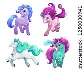 funny unicorns. little cute... | Shutterstock .eps vector #1250030941
