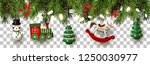 christmas border with branches... | Shutterstock .eps vector #1250030977