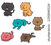vector set of cats | Shutterstock .eps vector #1250040124