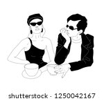 company of friends  fashionable ... | Shutterstock .eps vector #1250042167