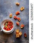 pecorino romano cheese  cherry... | Shutterstock . vector #1250055697