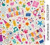 happy birthday pattern | Shutterstock .eps vector #125012549
