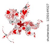 valentine icon in red cupid... | Shutterstock .eps vector #1250149327