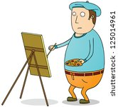 fat painter | Shutterstock .eps vector #125014961