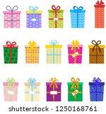 vector gift boxes decorated... | Shutterstock .eps vector #1250168761