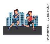 fitness men in the city blue... | Shutterstock .eps vector #1250169214