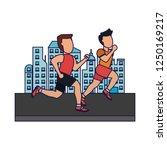 fitness men in the city blue... | Shutterstock .eps vector #1250169217