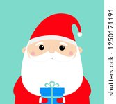 santa claus holding gift box.... | Shutterstock .eps vector #1250171191