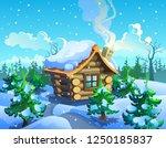 wooden house in the winter... | Shutterstock .eps vector #1250185837