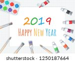 happy new year 2019 writing on... | Shutterstock . vector #1250187664