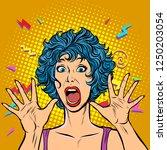 woman panic  fear  surprise... | Shutterstock .eps vector #1250203054