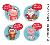 merry christmas flat icons set... | Shutterstock .eps vector #1250241421