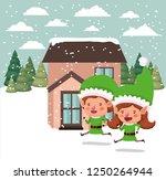couple santa helpers in... | Shutterstock .eps vector #1250264944