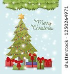 christmas pine tree with gifts | Shutterstock .eps vector #1250264971