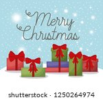 christmas card with set gifts | Shutterstock .eps vector #1250264974