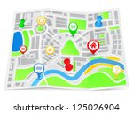 paper map with pointers | Shutterstock . vector #125026904