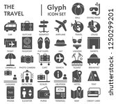 travel glyph signed icon set ... | Shutterstock .eps vector #1250299201