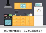 bright yellow kitchen with...   Shutterstock .eps vector #1250300617