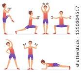 funny handsome man exercising... | Shutterstock .eps vector #1250304517