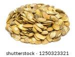 handful of pumpkin seeds... | Shutterstock . vector #1250323321