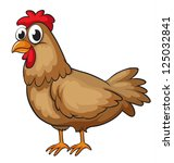 illustration of a hen on a... | Shutterstock . vector #125032841