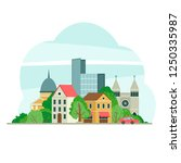 illustration with cityscape in... | Shutterstock .eps vector #1250335987