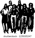 a group of young people stand... | Shutterstock .eps vector #125035247