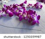 hawaii  making a hawaiian lei | Shutterstock . vector #1250359987
