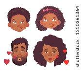 emotions of african human.... | Shutterstock . vector #1250361364