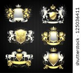silver and gold heraldry set   Shutterstock .eps vector #125036411