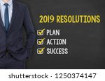 new year 2019 resolutions on... | Shutterstock . vector #1250374147