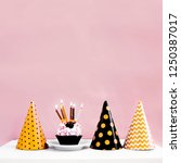 birthday cake with candle in... | Shutterstock . vector #1250387017